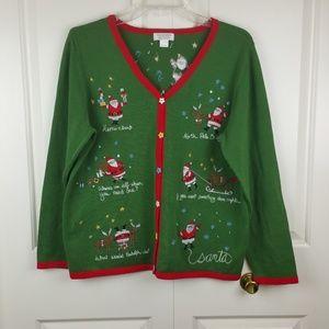 Christopher & Banks Cute Funny Santa Cardigan L